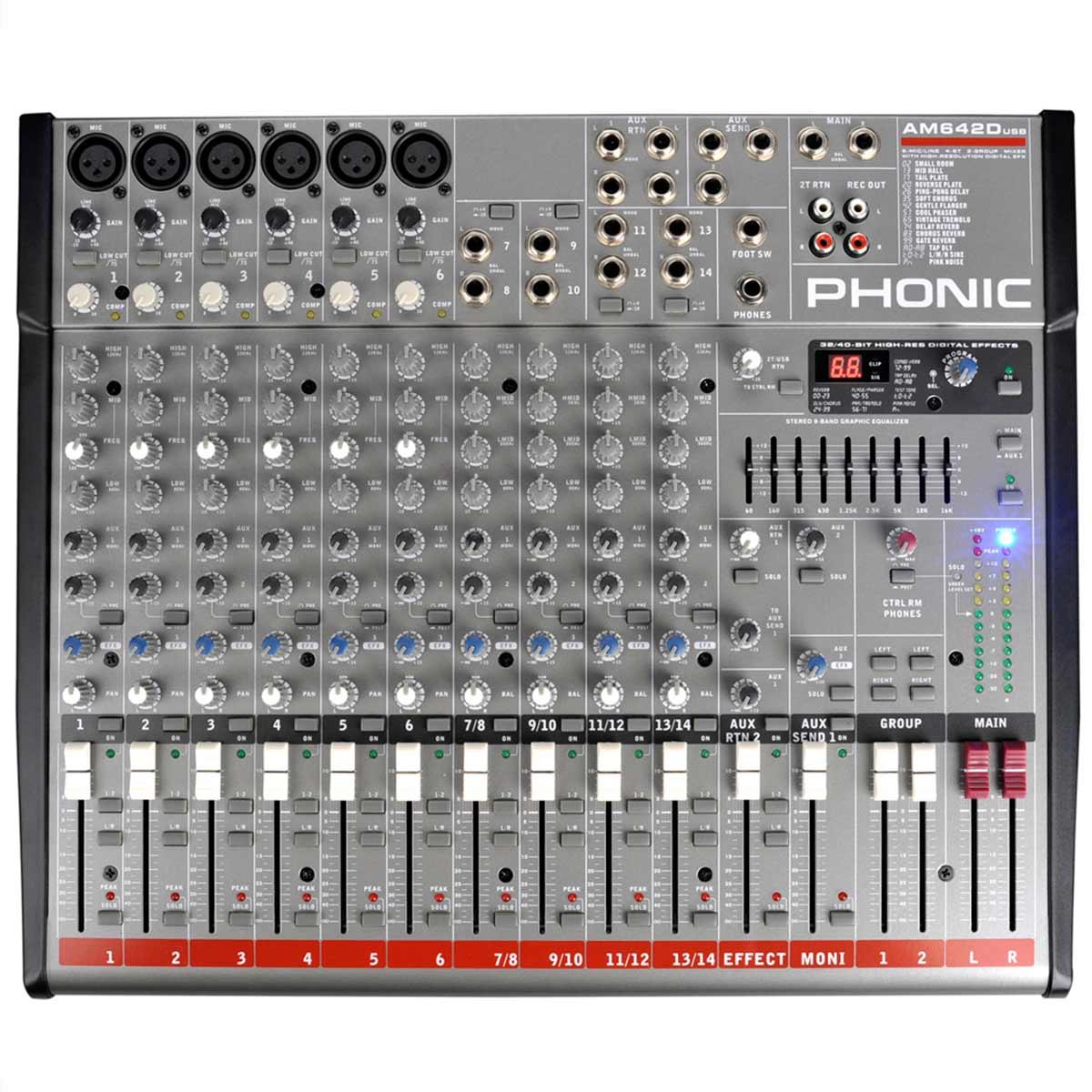 AM642DUSB - Mesa de Som / Mixer 14 Canais AM 642 D USB - Phonic