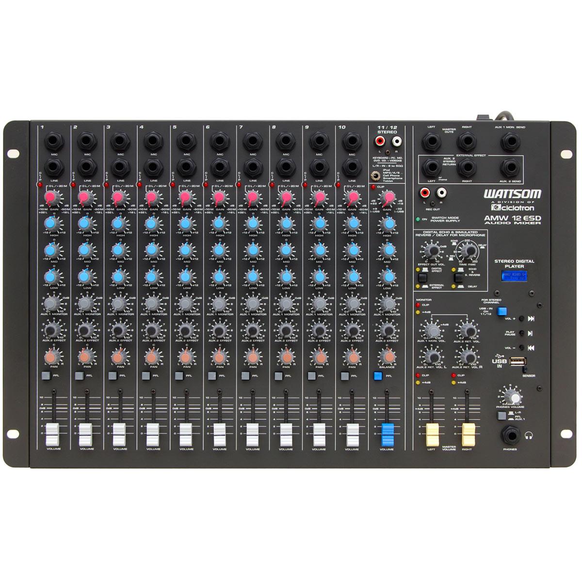 Mesa de Som 12 Canais P10 Balanceados c/ USB Play / Efeito / 2 Auxiliares - AMW 12 ESD Ciclotron
