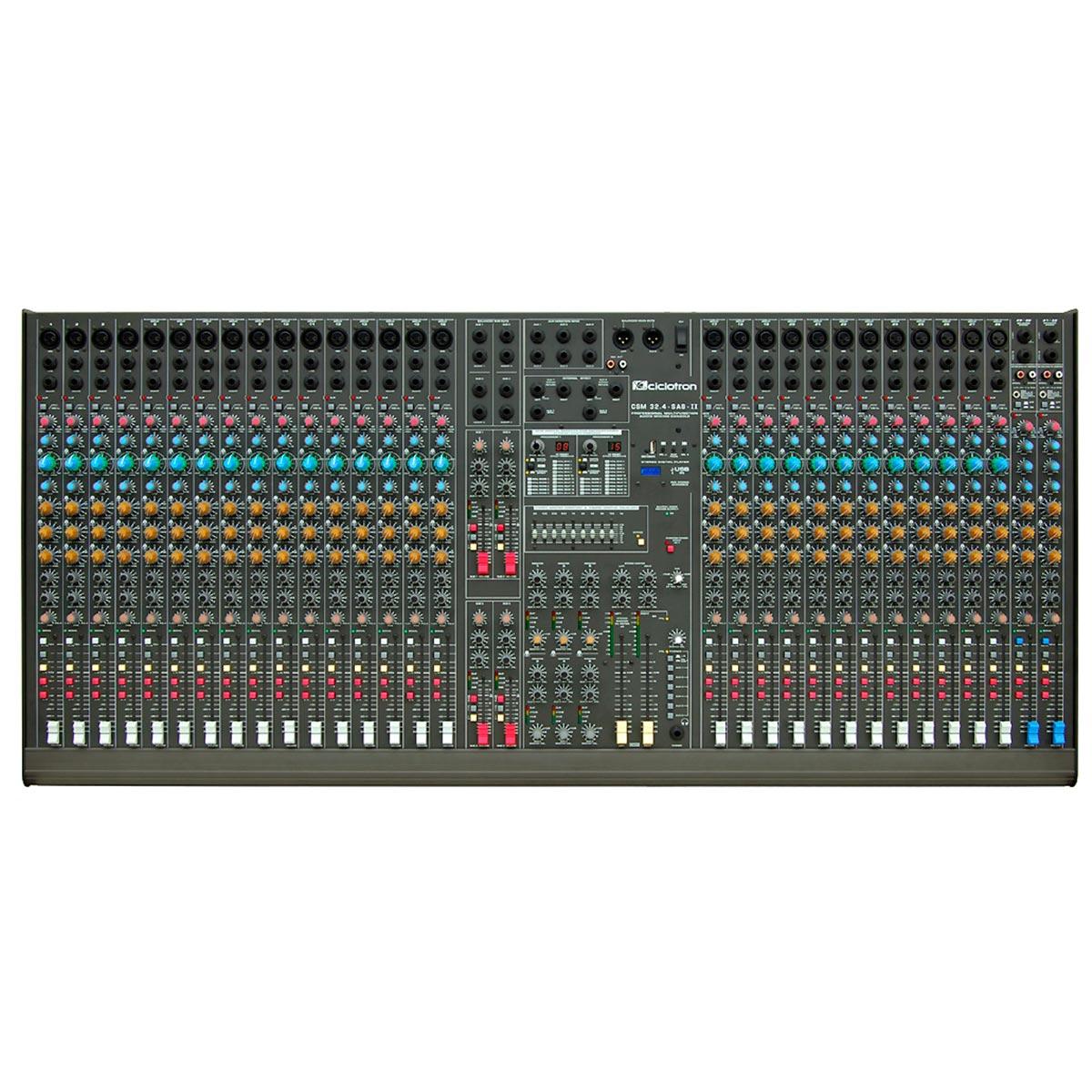 Mesa de Som 32 Canais Balanceados (28 XLR + 4 P10) c/ USB Play / Efeito / Phantom / 8 Auxiliares - CSM 32 4 S A 8 II Ciclotron