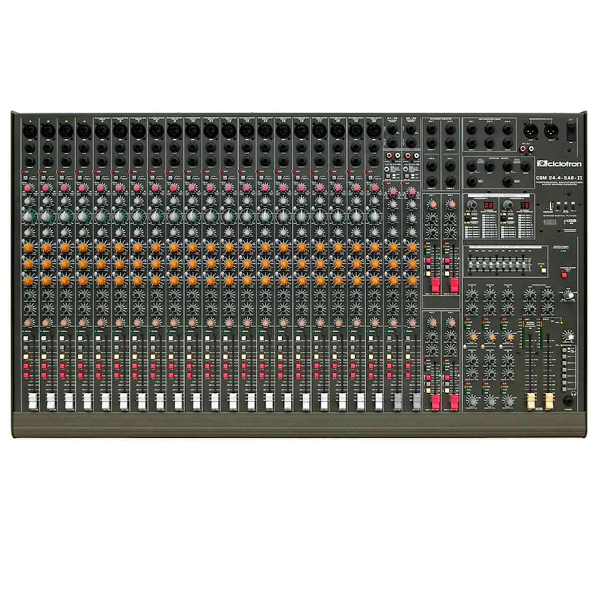 CSM244SA8II - Mesa de Som / Mixer 24 Canais USB CSM 24 4 S A 8 II - Ciclotron