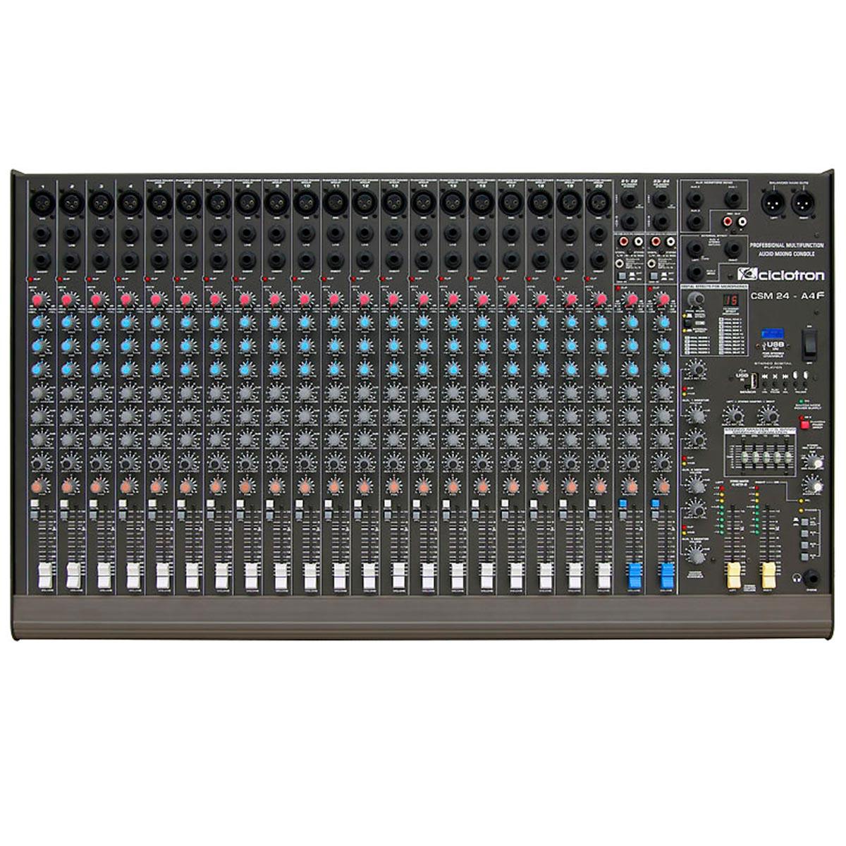 Mesa de Som 24 Canais Balanceados (20 XLR + 4 P10) c/ USB Play / Efeito / Phantom / 3 Auxiliares - CSM 24 A 4 F Ciclotron