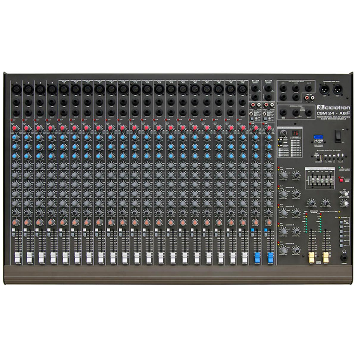 Mesa de Som 24 Canais Balanceados (20 XLR + 4 P10) c/ USB / Efeito / Phantom / 6 Auxiliares - CSM 24 A 6 F Ciclotron