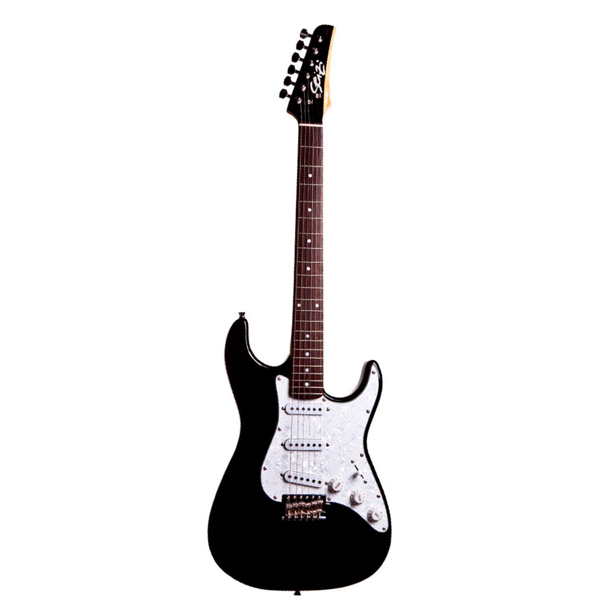 Guitarra Vision Black c/ Escudo Branco Perolado - Seizi