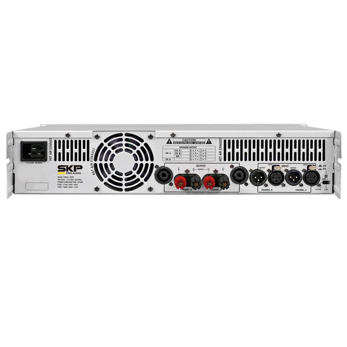 MAXDF2220 - Amplificador Estéreo 2 Canais 2200W MAXD Force 2220 - SKP