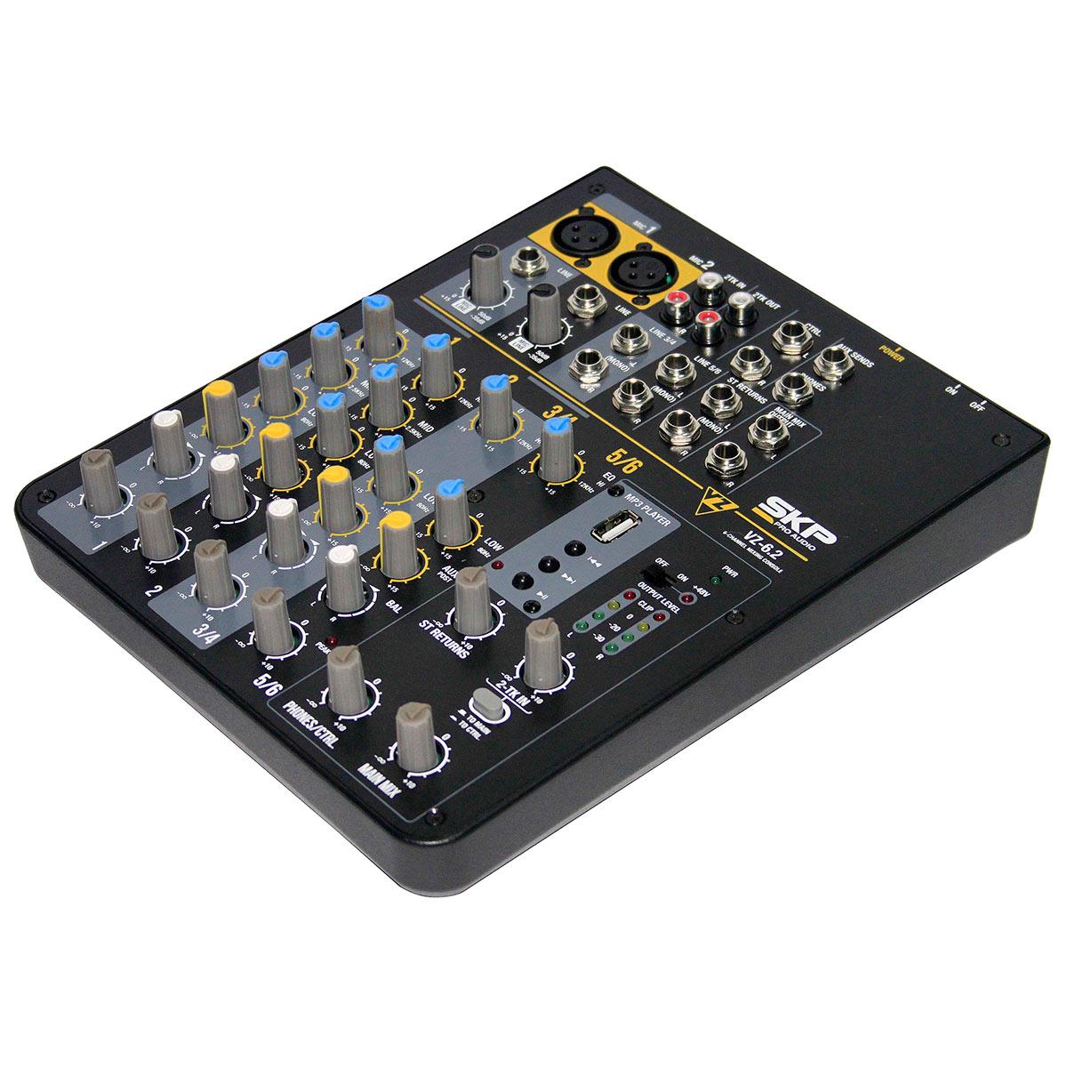 VZ62 - Mesa de Som / Mixer 6 Canais USB 110V VZ 62 - SKP
