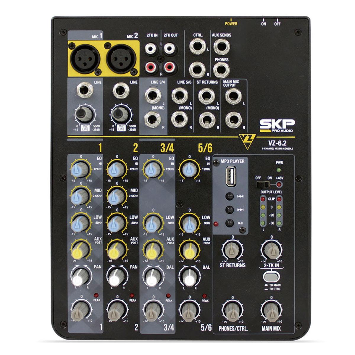 VZ62 - Mesa de Som / Mixer 6 Canais USB 220V VZ 62 - SKP