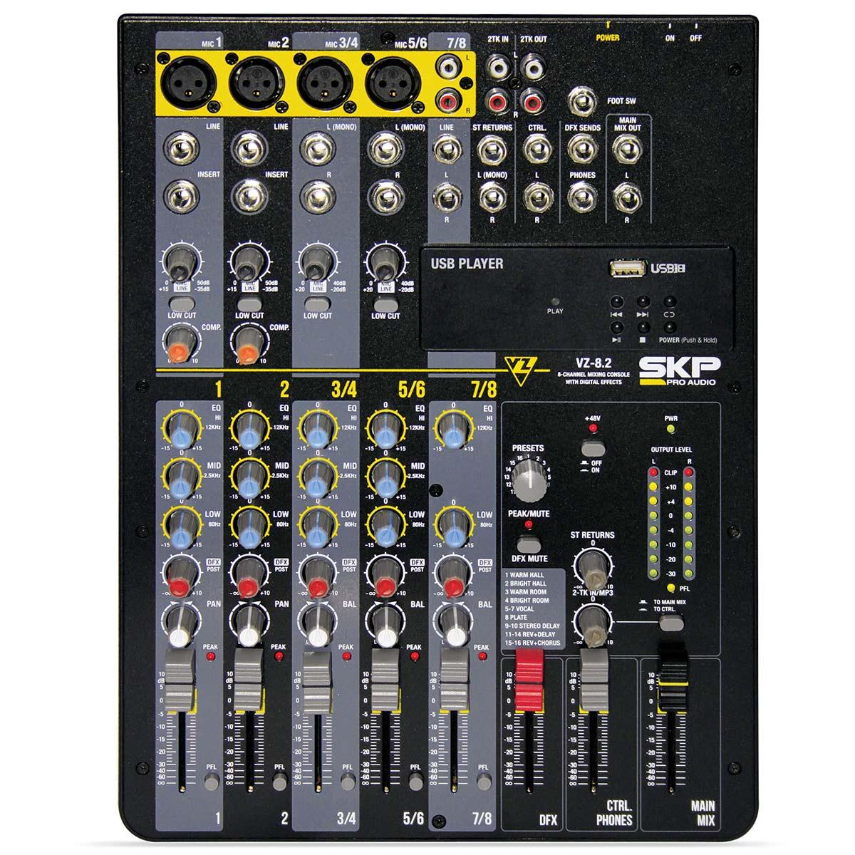 VZ82 - Mesa de Som / Mixer 8 Canais USB 110V VZ 82 - SKP