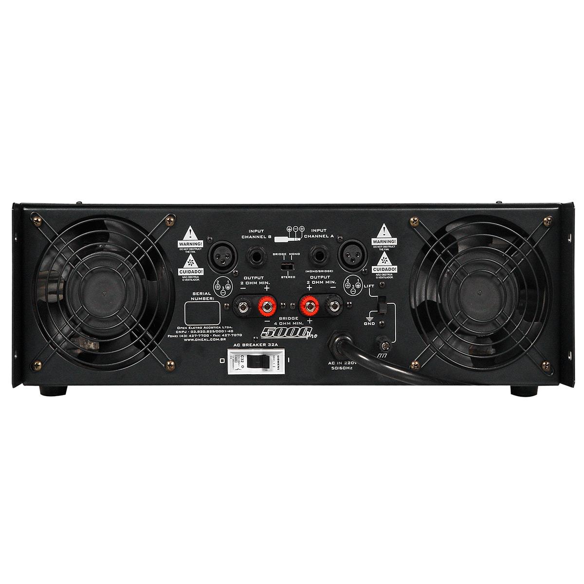 Amplificador Estéreo 2 Canais 5000W ( 2 Ohms ) 5000 PRO - Oneal