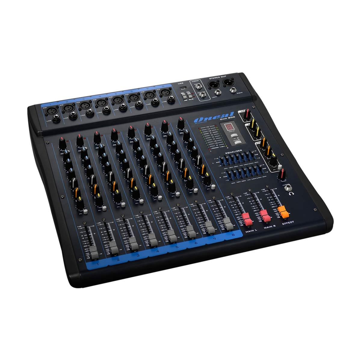 OMX800 - Mesa de Som / Mixer 8 Canais USB OMX 800 - Oneal