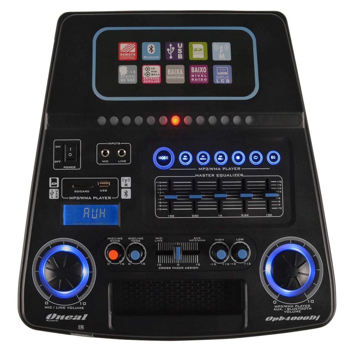 OPB4000DJ - Caixa Ativa c/ Microfone s/ Fio / Bluetooth e USB 1200W OPB 4000 DJ - Oneal