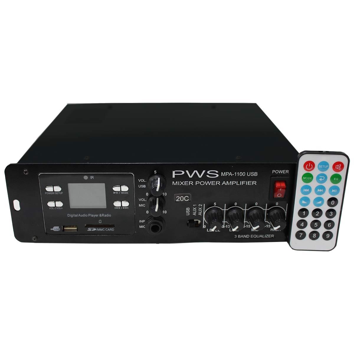 MPA1100USB20C - Amplificador Som Ambiente até 20 Caixas 100W MPA 1100 USB 20C - PWS
