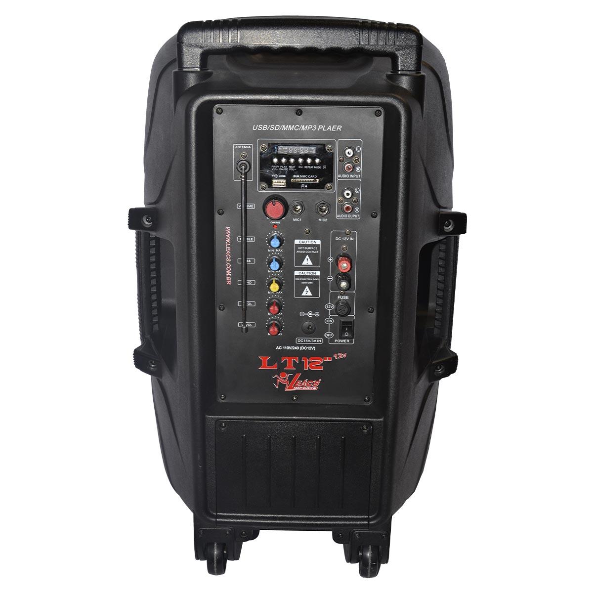 LT1212V - Caixa Port�til c/ Bateria, Bluetooth e USB 150W LT 12 12V - Leacs