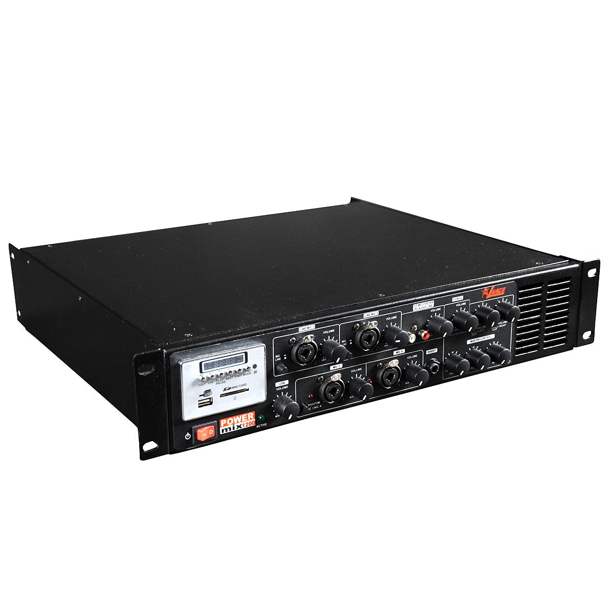 Pré Amplificador c/ Gongo e Equalizador 300W POWER MIX 1200 - Leacs
