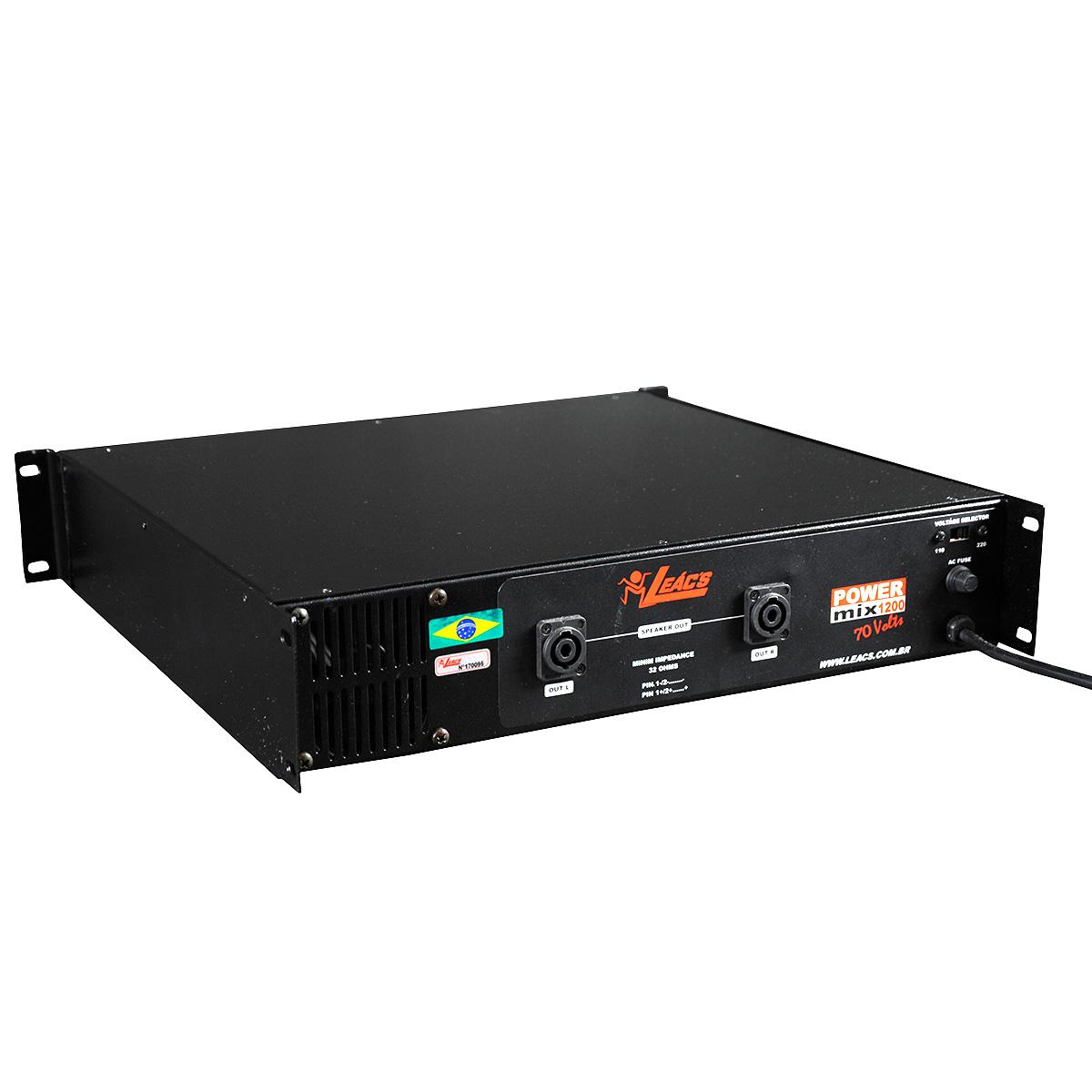 Pré Amplificador c/ Gongo e Equalizador 300W POWER MIX 1200 70V - Leacs