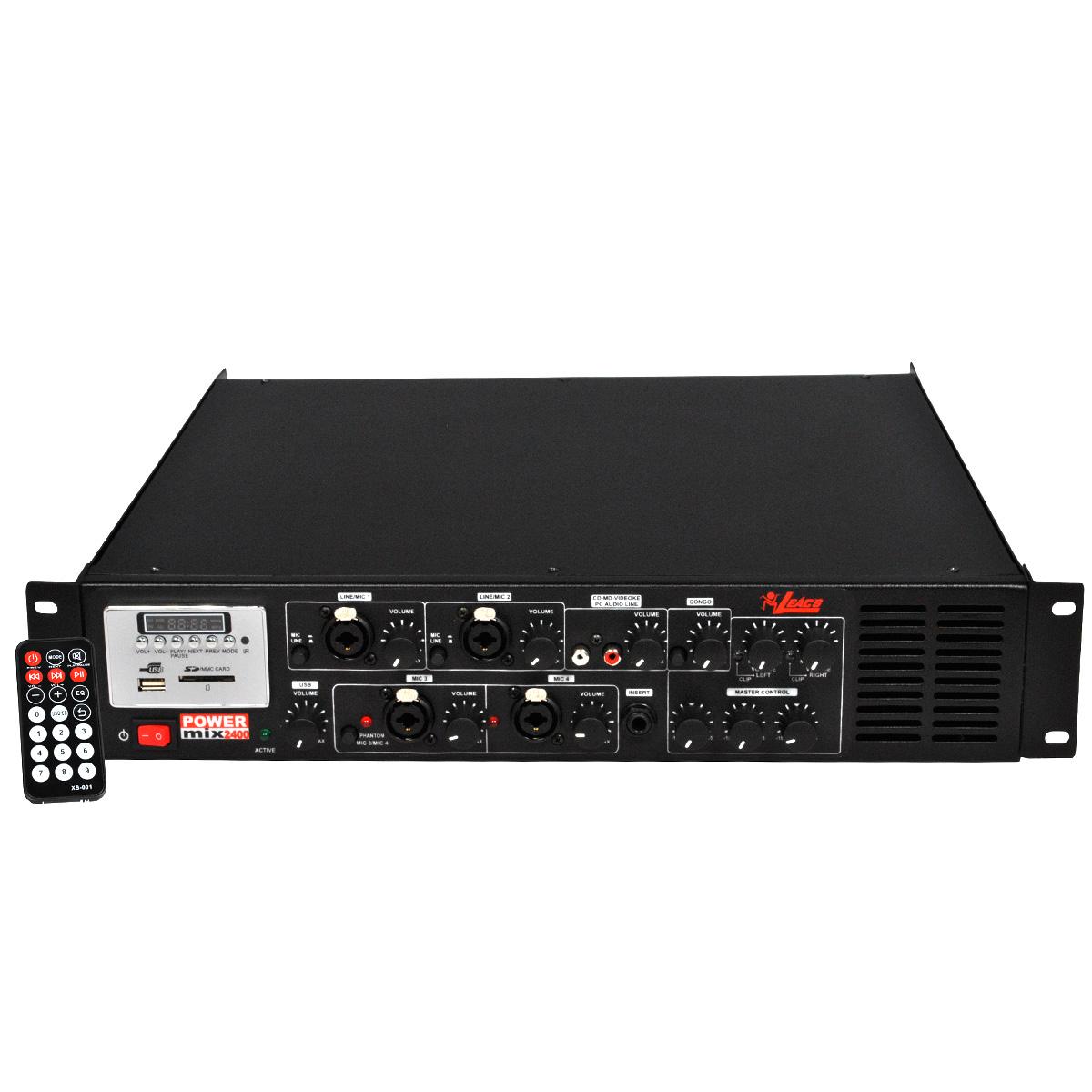 Pré Amplificador c/ Gongo e Equalizador 600W POWER MIX 2400 - Leacs