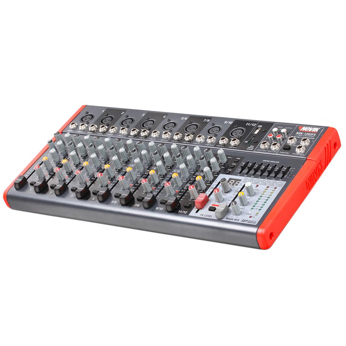 NVK1202FX - Mesa de Som / Mixer 12 Canais USB 110V NVK 1202 FX - Novik Neo