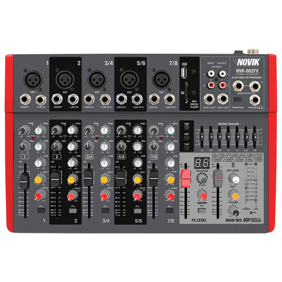 NVK802FX - Mesa de Som / Mixer 8 Canais USB 220V NVK 802 FX - Novik Neo