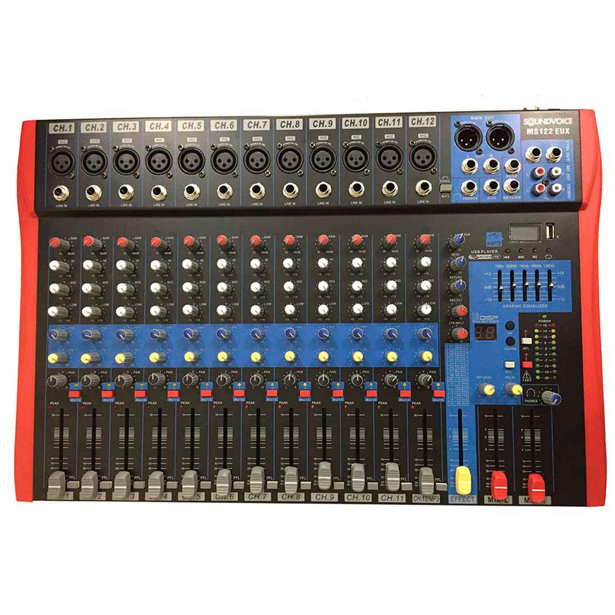 MS122eux - Mesa de Som / Mixer 12 Canais USB MS 122eux - Soundvoice