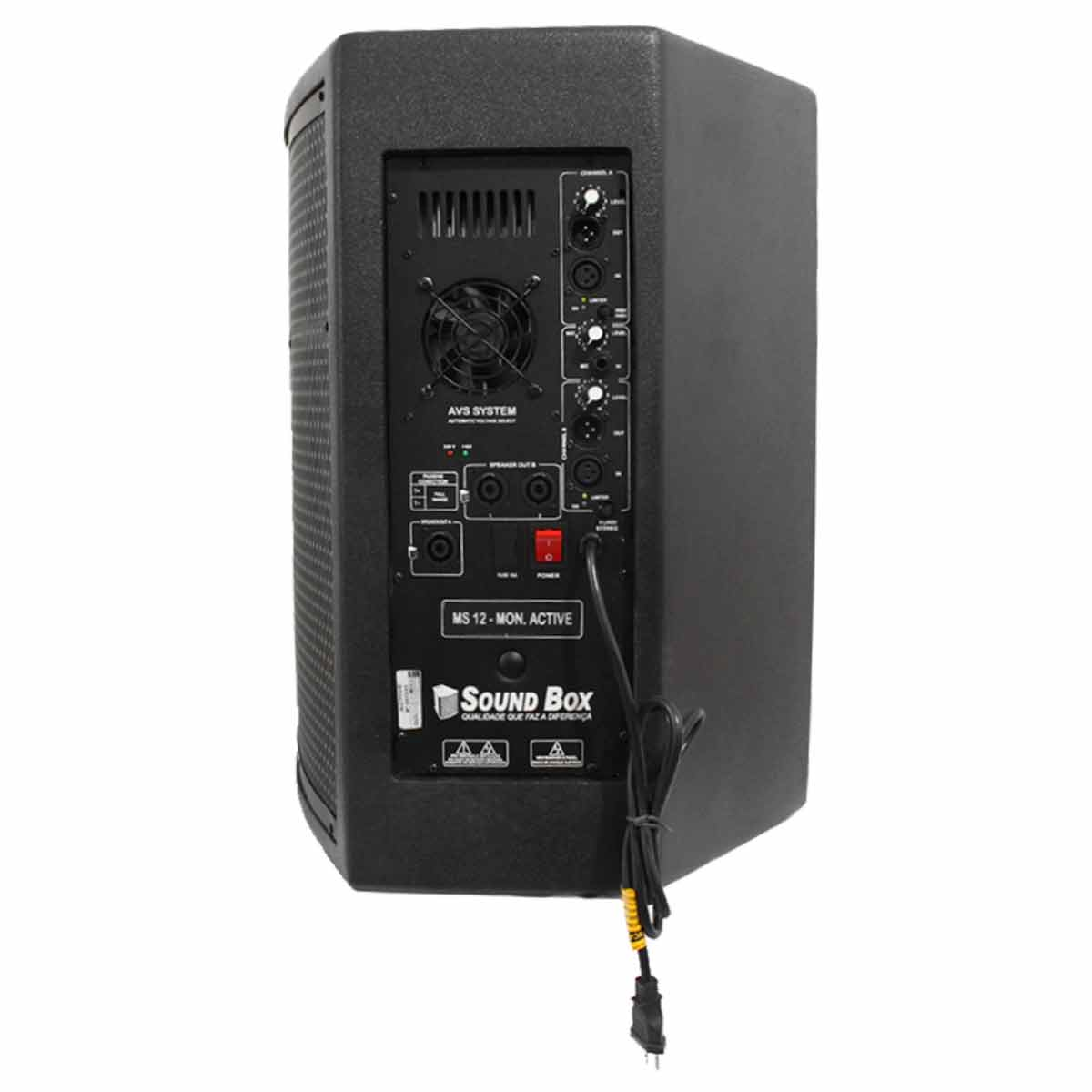 Monitor Ativo 500W MS 12 Preto - SoundBox