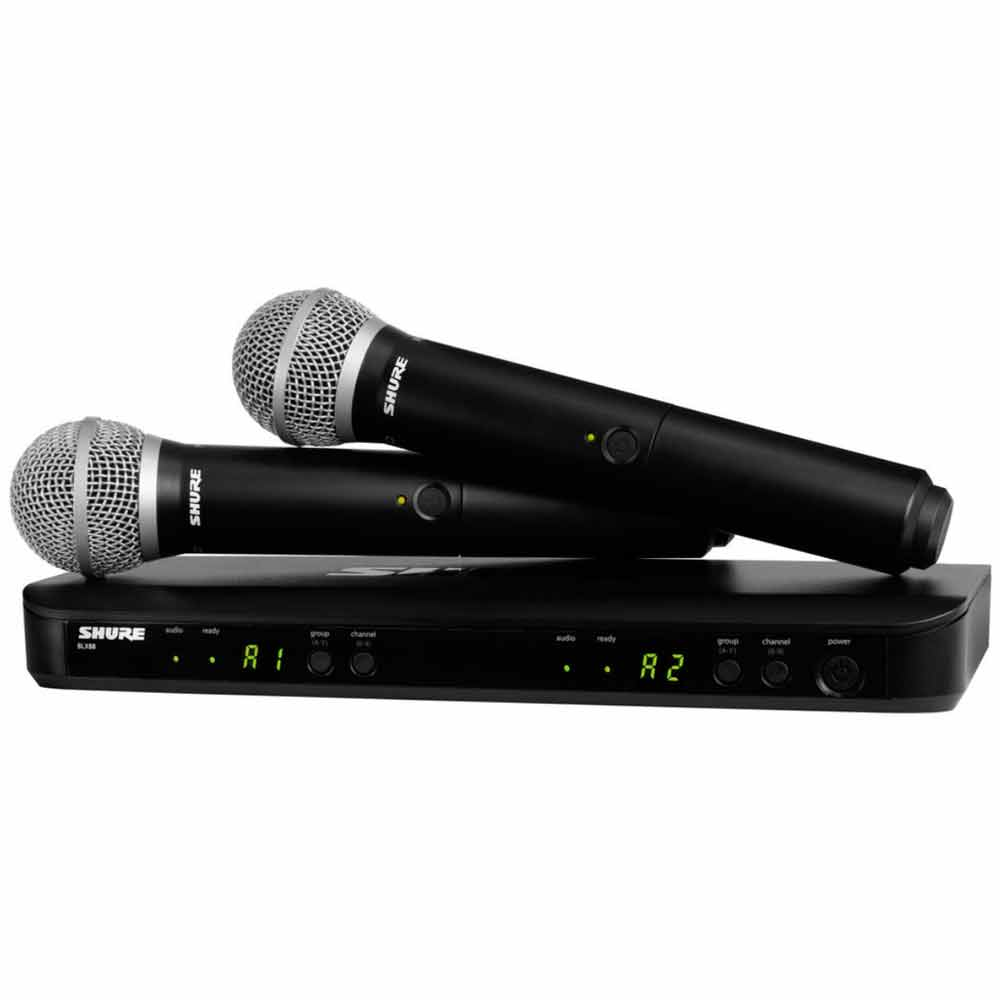 BLX288BRPG58 - Microfone s/ Fio de Mão Duplo BLX 288BR PG58 - Shure