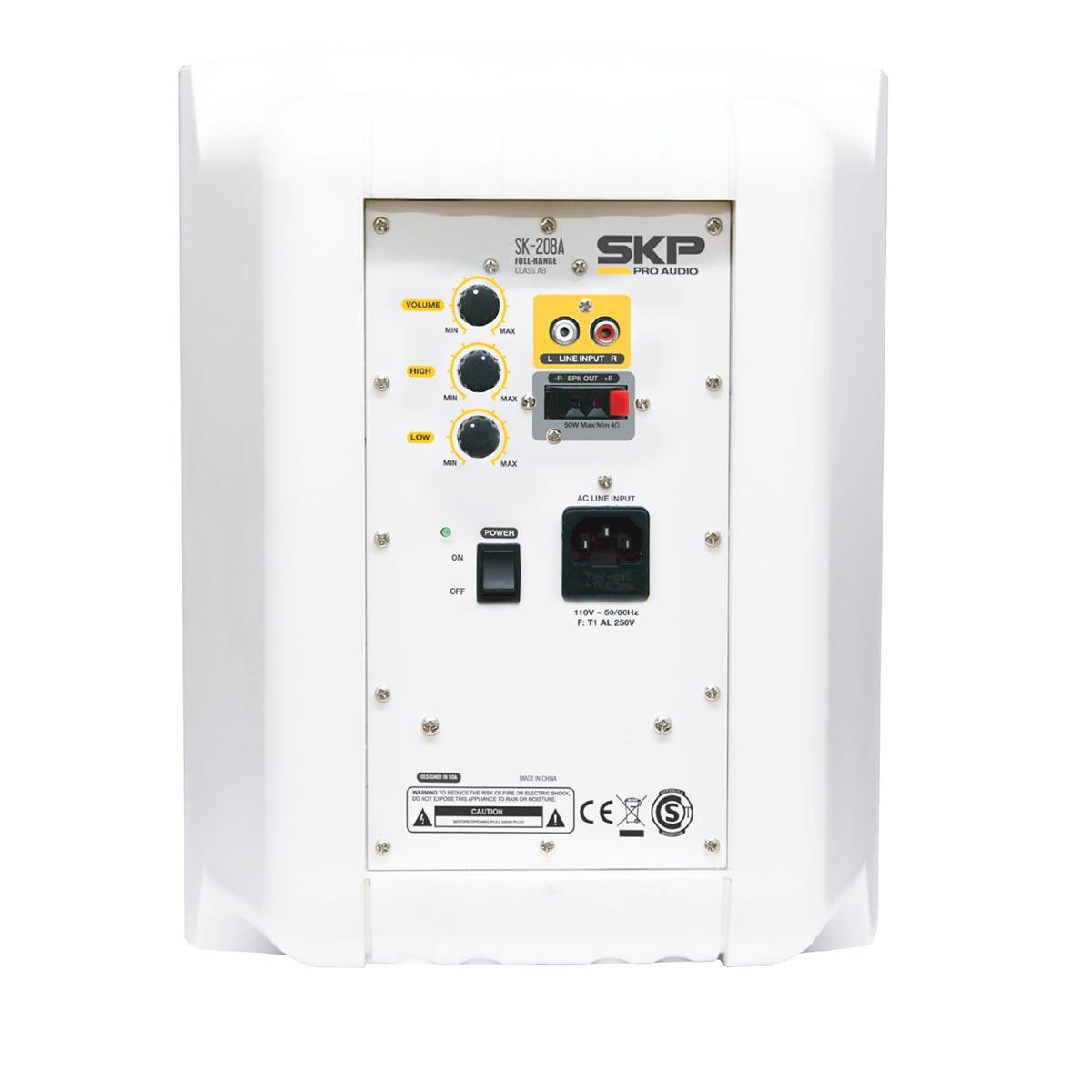 SK208A - Caixa Ativa 100W Branca c/ Suporte 220V ( Par ) SK 208 A - SKP