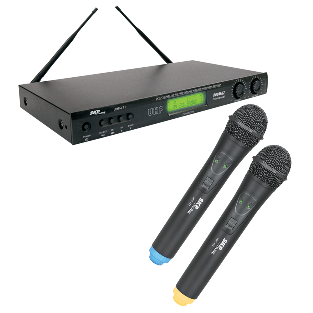 Microfone s/ Fio de Mão UHF Duplo UHF 471 - SKP