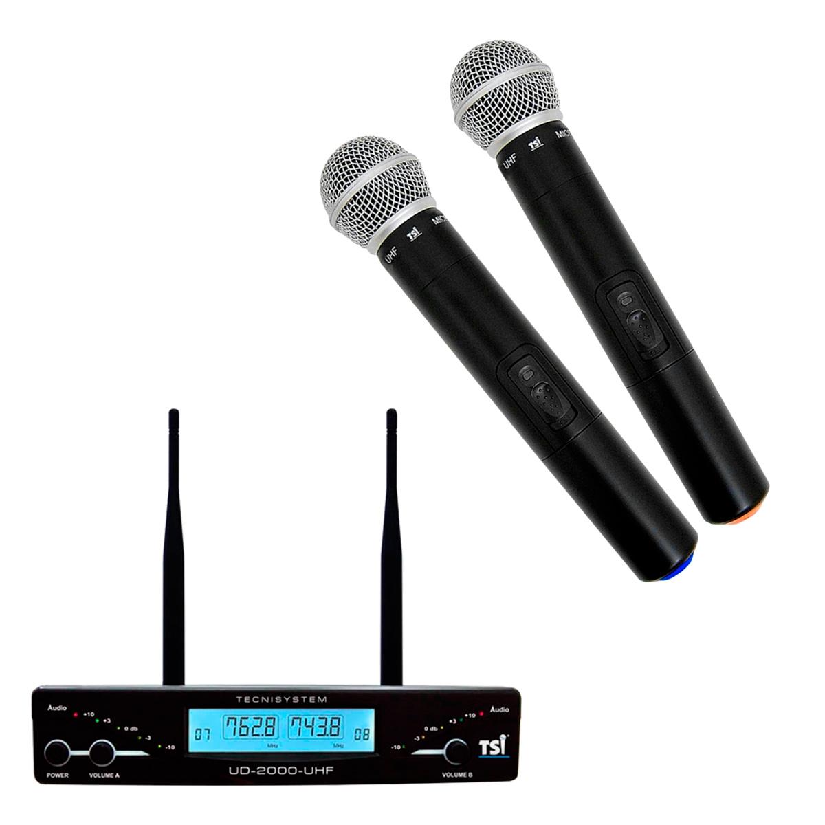 UD2000 - Microfone s/ Fio de Mão Duplo UHF UD 2000 - TSI