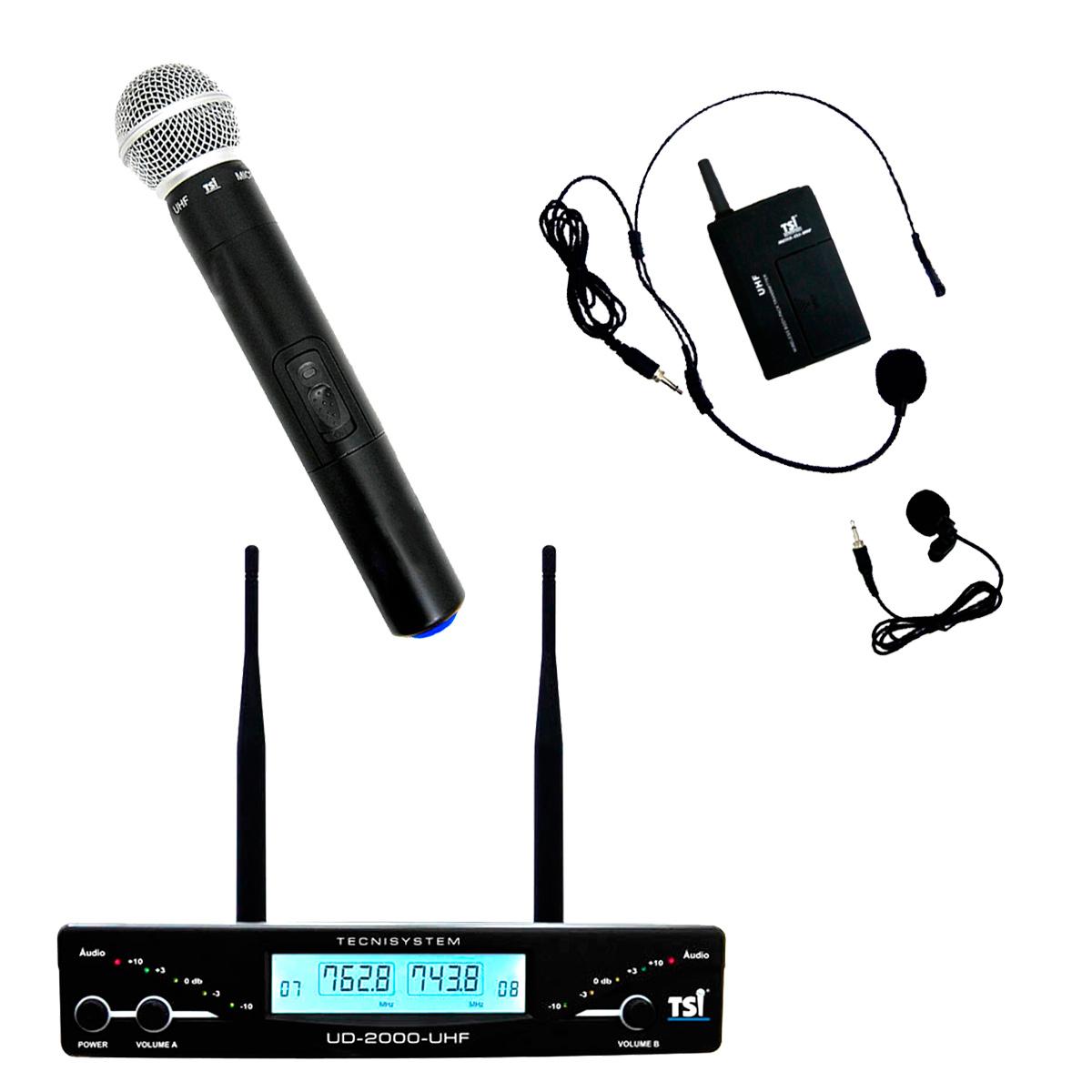 UD2000CLI - Microfone s/ Fio Mão, Headset e Lapela UHF UD 2000 CLI - TSI