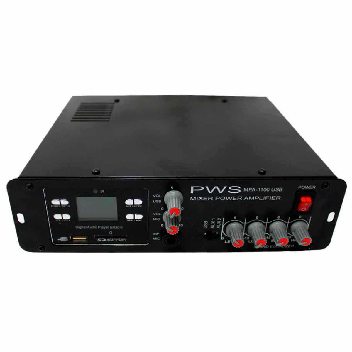 MPA1100USB - Amplificador Som Ambiente c/ USB 100W MPA 1100 USB - PWS