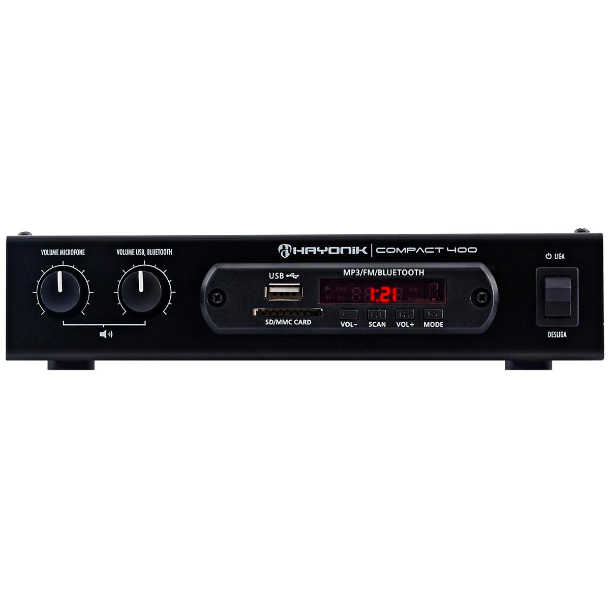 Amplificador Som Ambiente c/ Bluetooth e USB 40W Compact 400 - Hayonic
