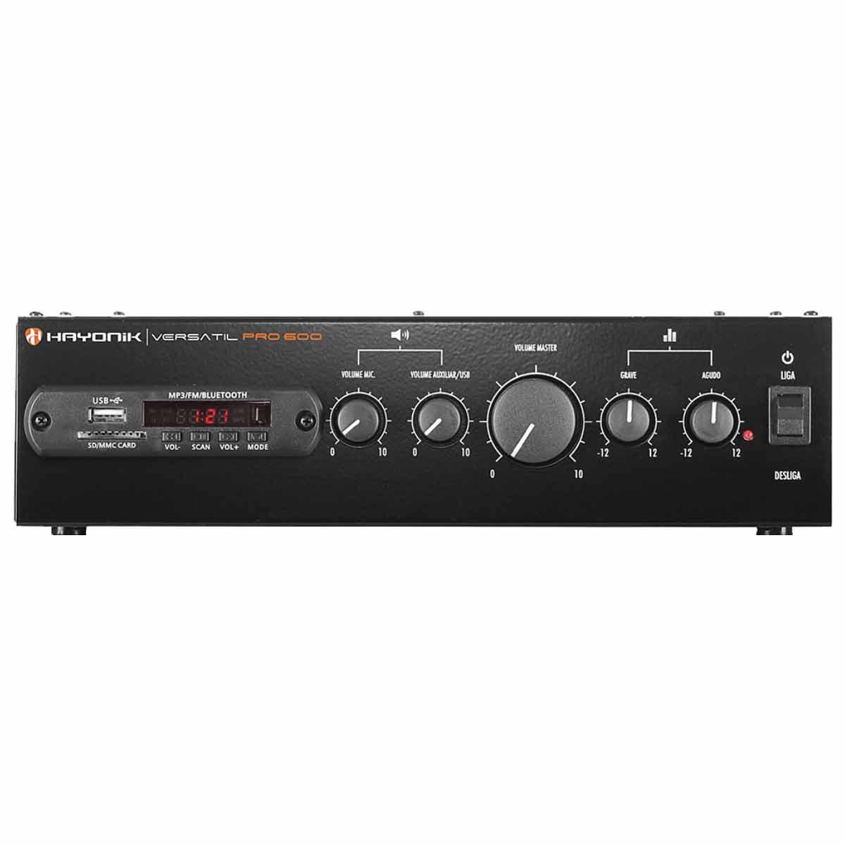 Amplificador Som Ambiente c/ Bluetooth e USB 100W Versatil PRO 600 - Hayonic