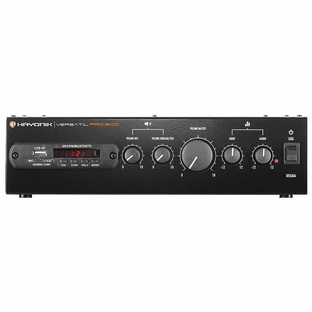 PRO600 - Amplificador Som Ambiente c/ Bluetooth e USB 100W Versatil PRO 600 - Hayonic