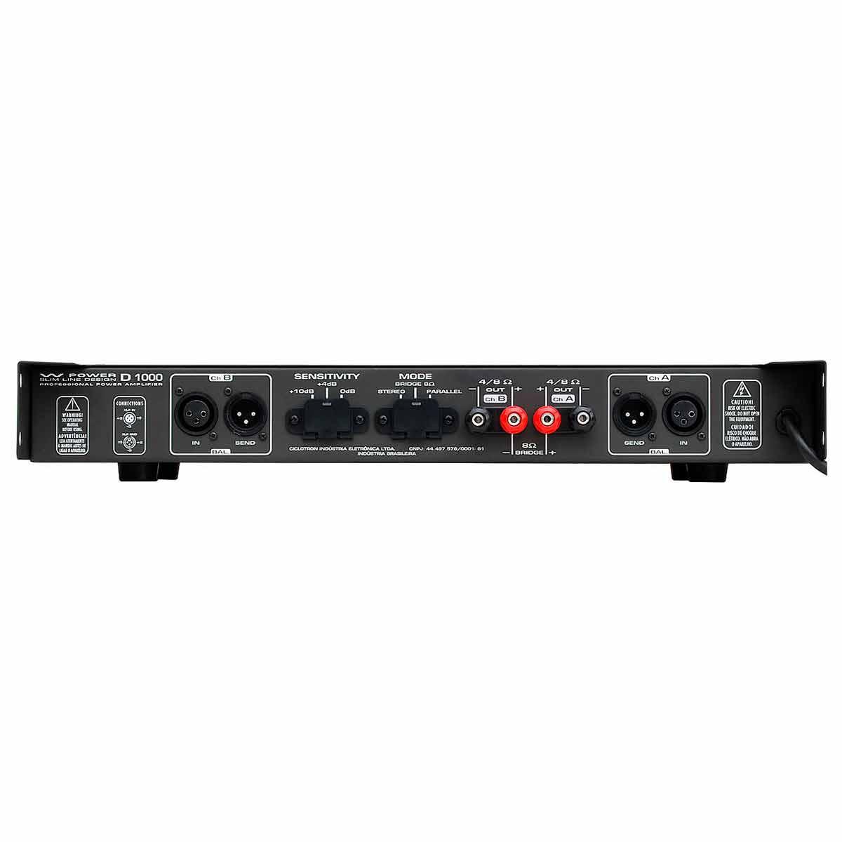 D1000 - Amplificador Estéreo 2 Canais 250W W Power D 1000 - Ciclotron