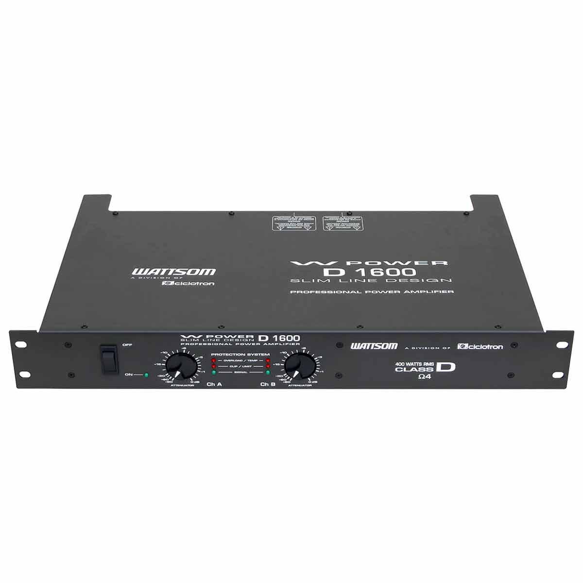 Amplificador Estéreo 2 Canais 400W W Power D 1600 - Ciclotron