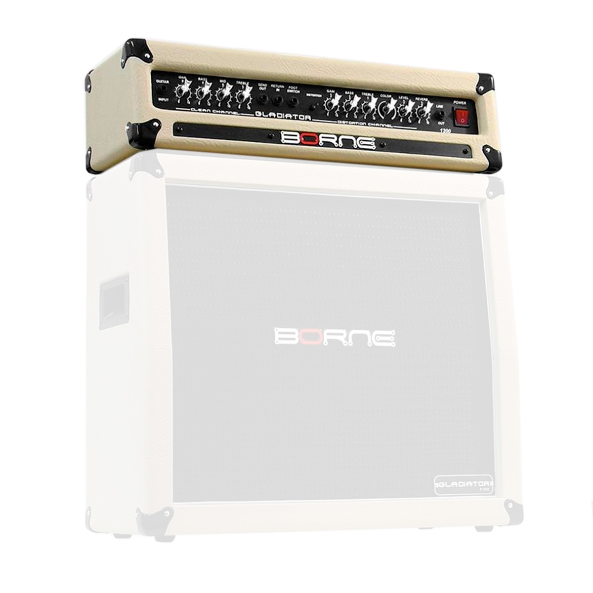 Gladiator1200 - Cabeçote p/ Guitarra 100W Gladiator 1200 Creme - Borne