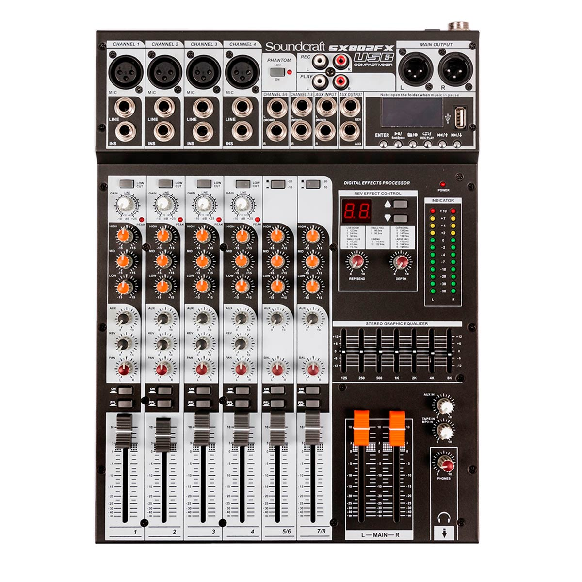 Mesa de Som 8 Canais Balanceados (4 XLR + 4 P10) c/ USB / Efeito / Phantom / 2 Auxiliares - SX 802 FX USB Soundcraft