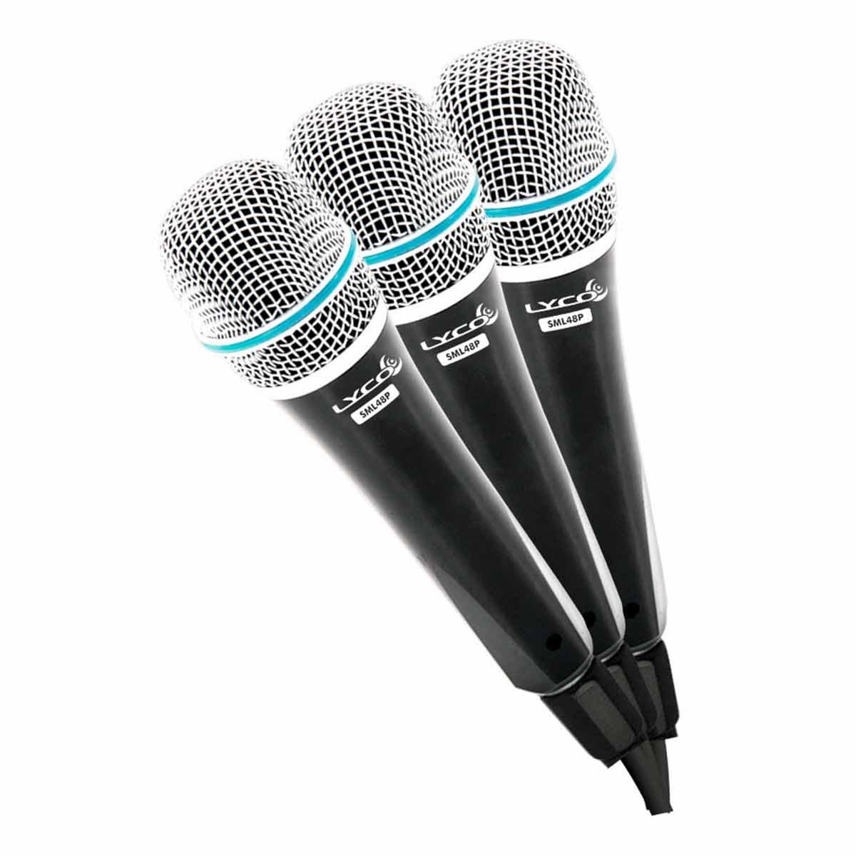 SML48SP3 - Kit 3 Microfones c/ Fio de Mão SML 48 SP3 - Lyco