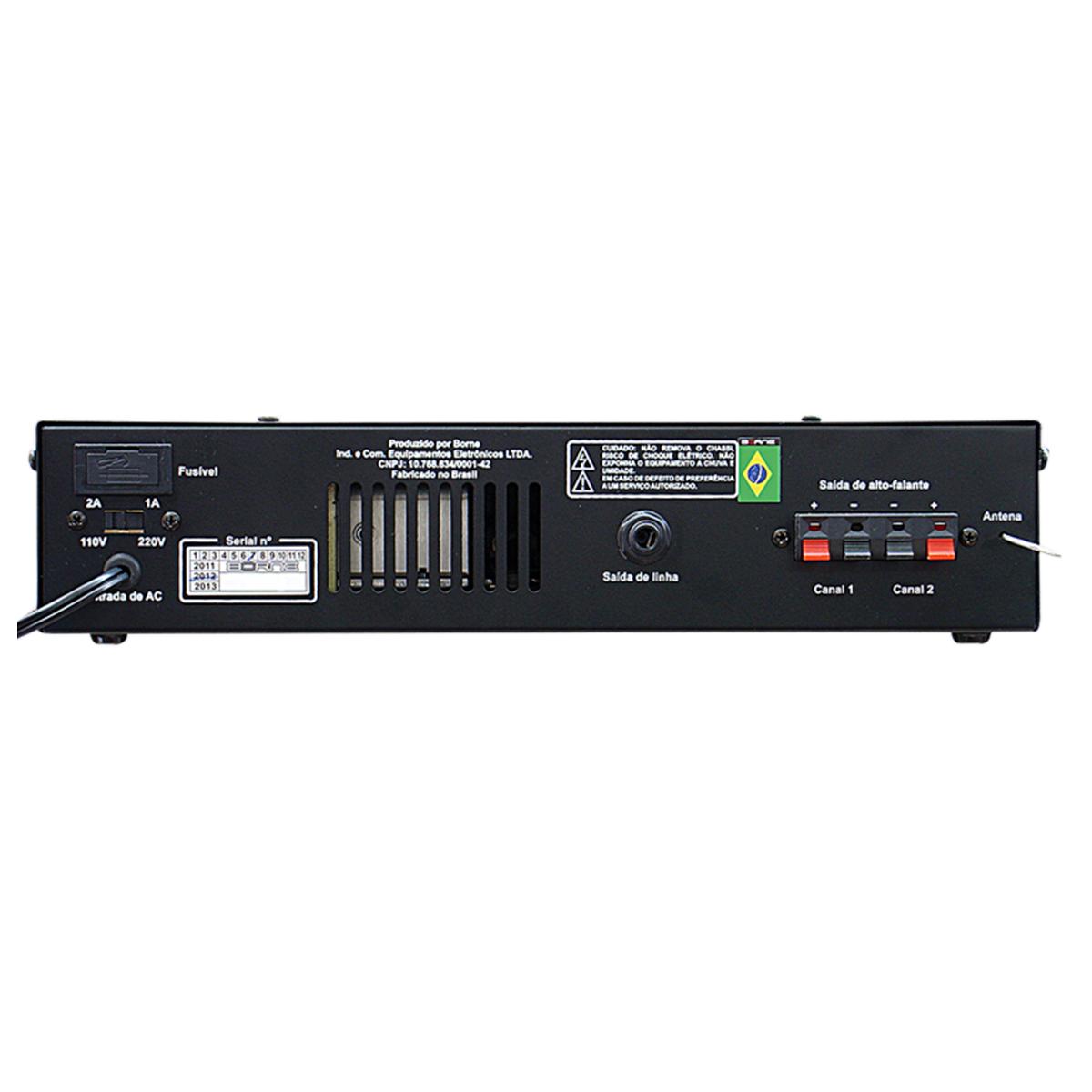 Amplificador Som Ambiente 40W c/ Bluetooth e USB RC 5000 BT - Borne