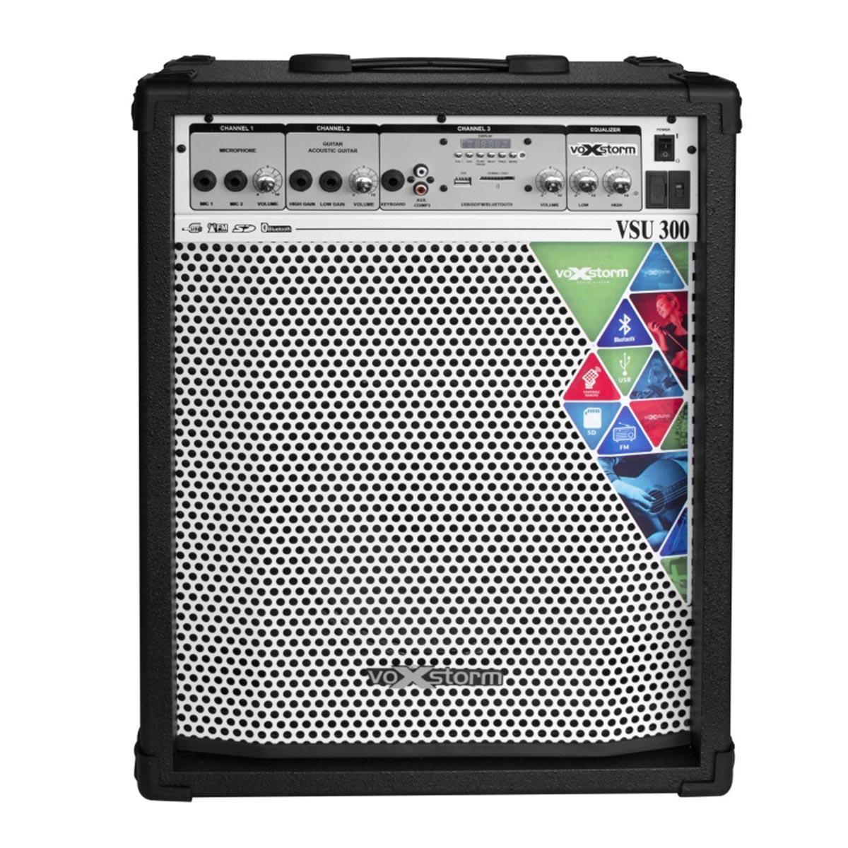 VSU300 - Cubo Multiuso Ativo 40W c/ Bluetooth e USB VSU 300 Preto - Voxstorm