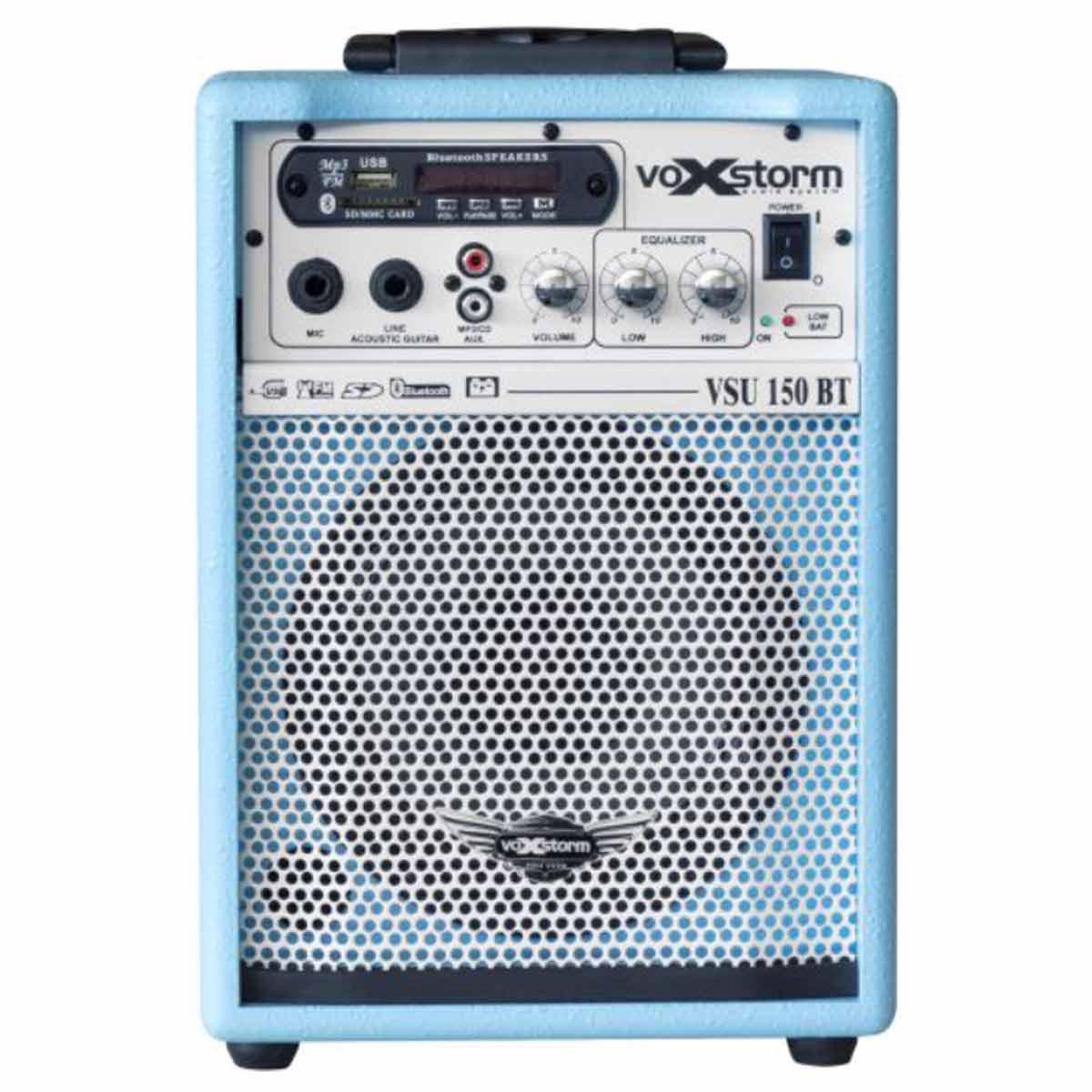 VSU150BT - Cubo Multiuso Ativo 15W c/ Bateria Interna, Bluetooth e USB VSU 150 BT Azul - Voxstorm