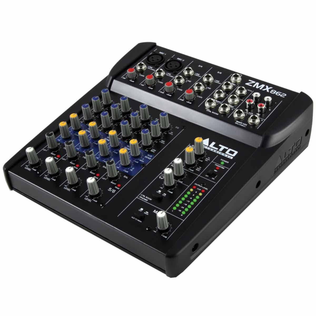 ZMX862 - Mesa de Som / Mixer 6 Canais ZMX 862 - Alto