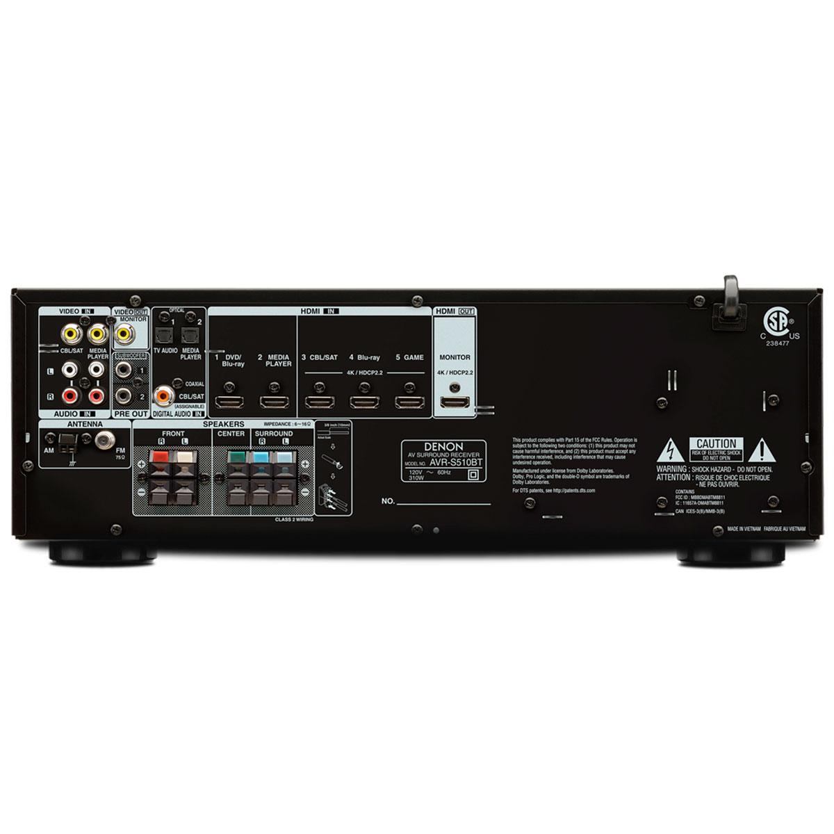 Receiver 5.2 Canais 5 HDMI c/ Bluetooth AVR-S510BT - Denon