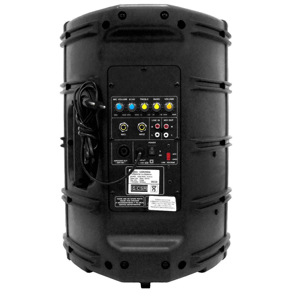 CSR2500A - Caixa CSR 2500 A Ativa 100W com 3 Entradas com Eco