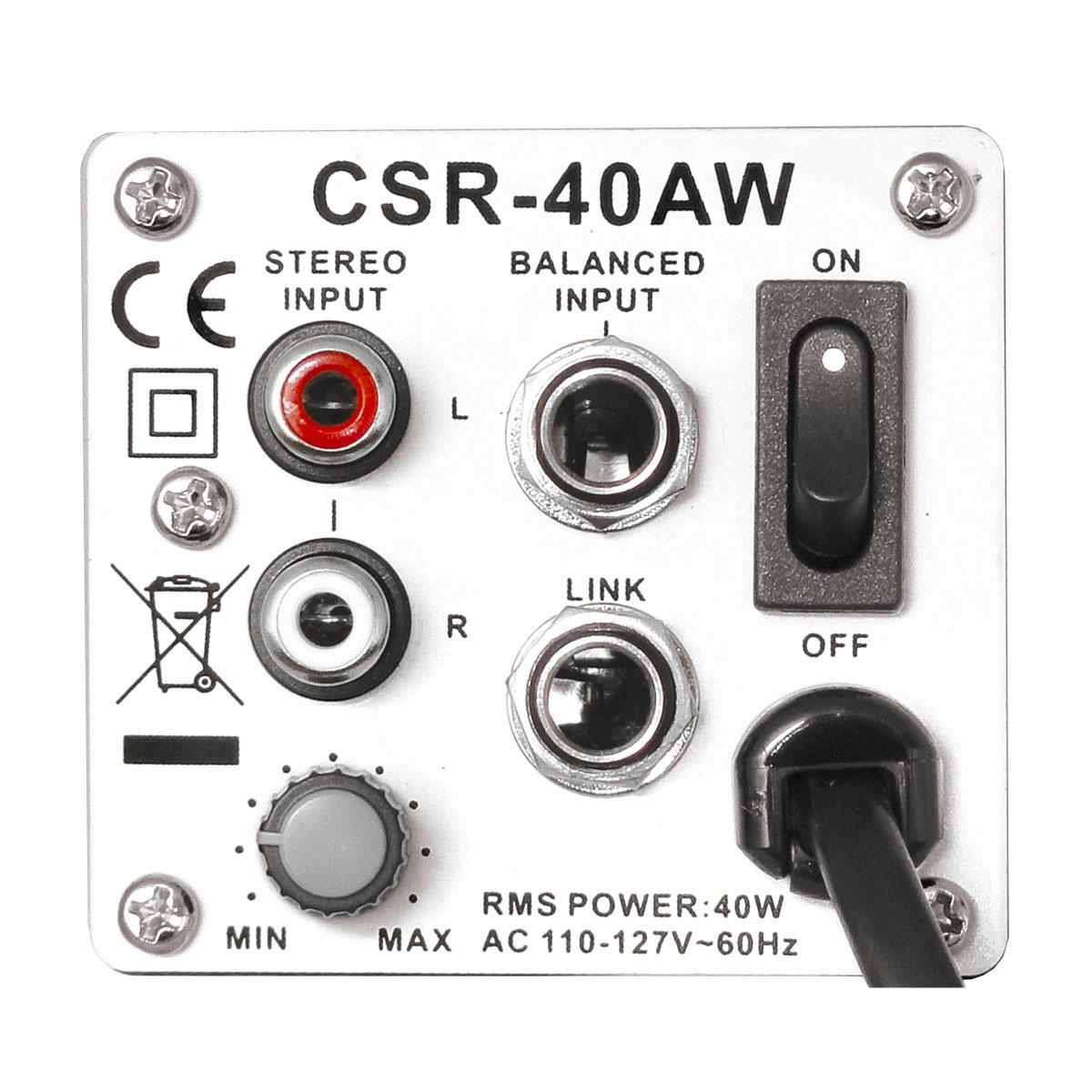 CSR40AW - Caixa Ativa 40W Branca c/ Suporte ( Par ) CSR 40 AW - CSR
