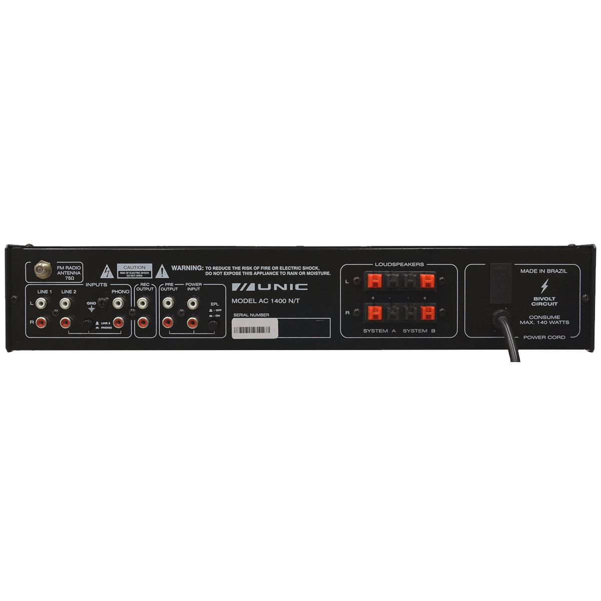 Amplificador Som Ambiente Estéreo 110W c/ Bluetooth e USB AC 1400N - Unic