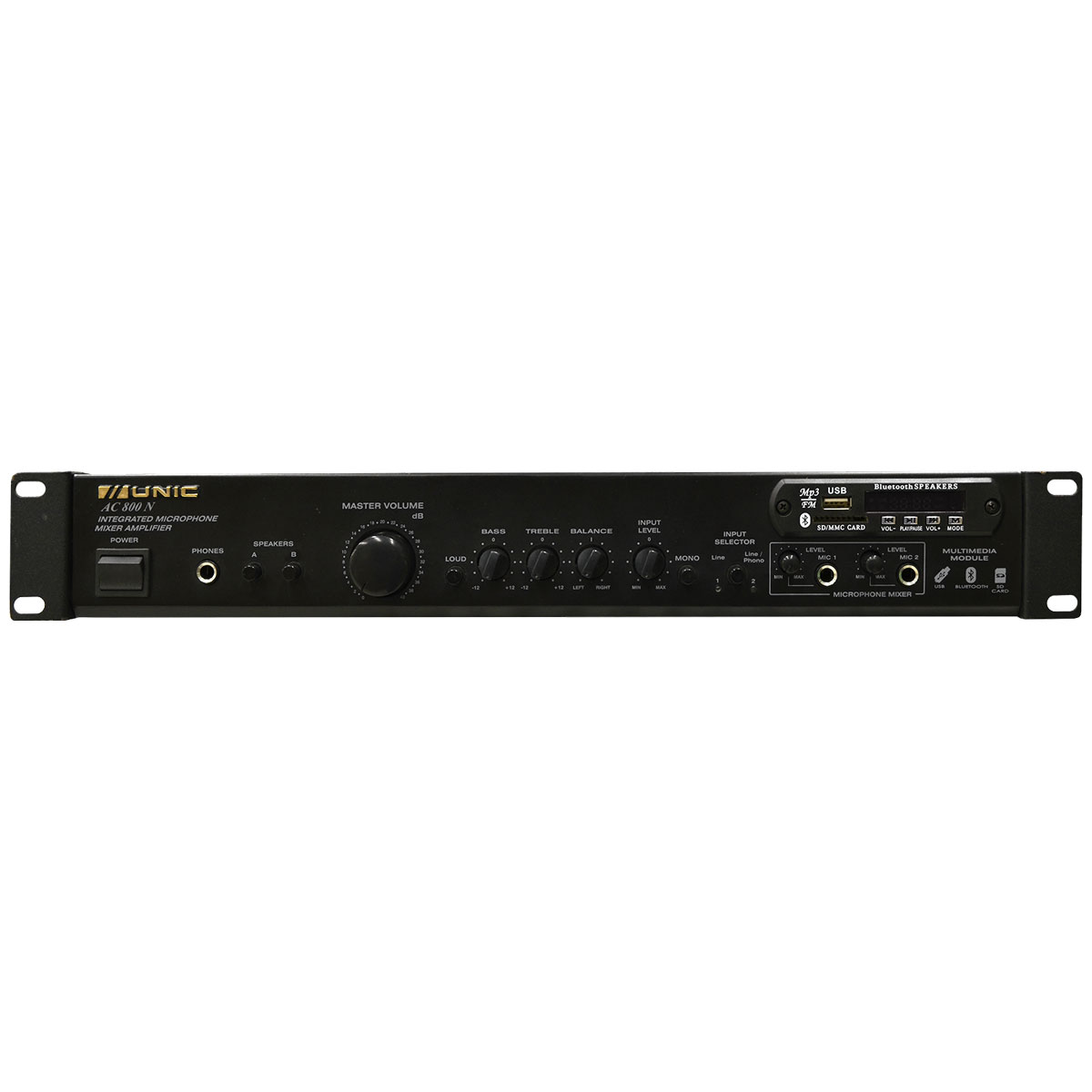 Amplificador Som Ambiente Estéreo 70W c/ Bluetooth e USB AC 800N - Unic