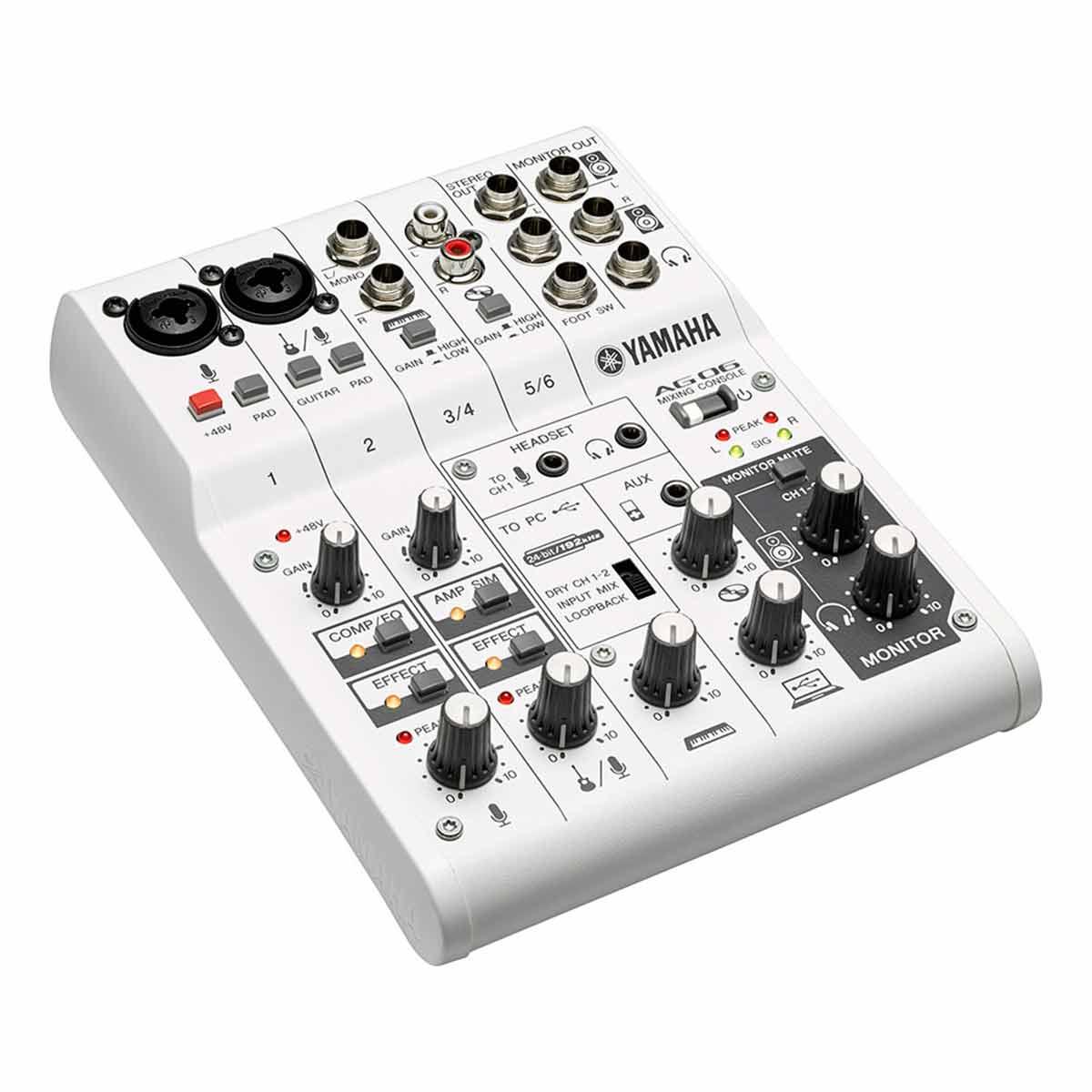 Mesa de Som / Mixer Compacto 6 Canais c/ Interface de Som AG06 - Yamaha