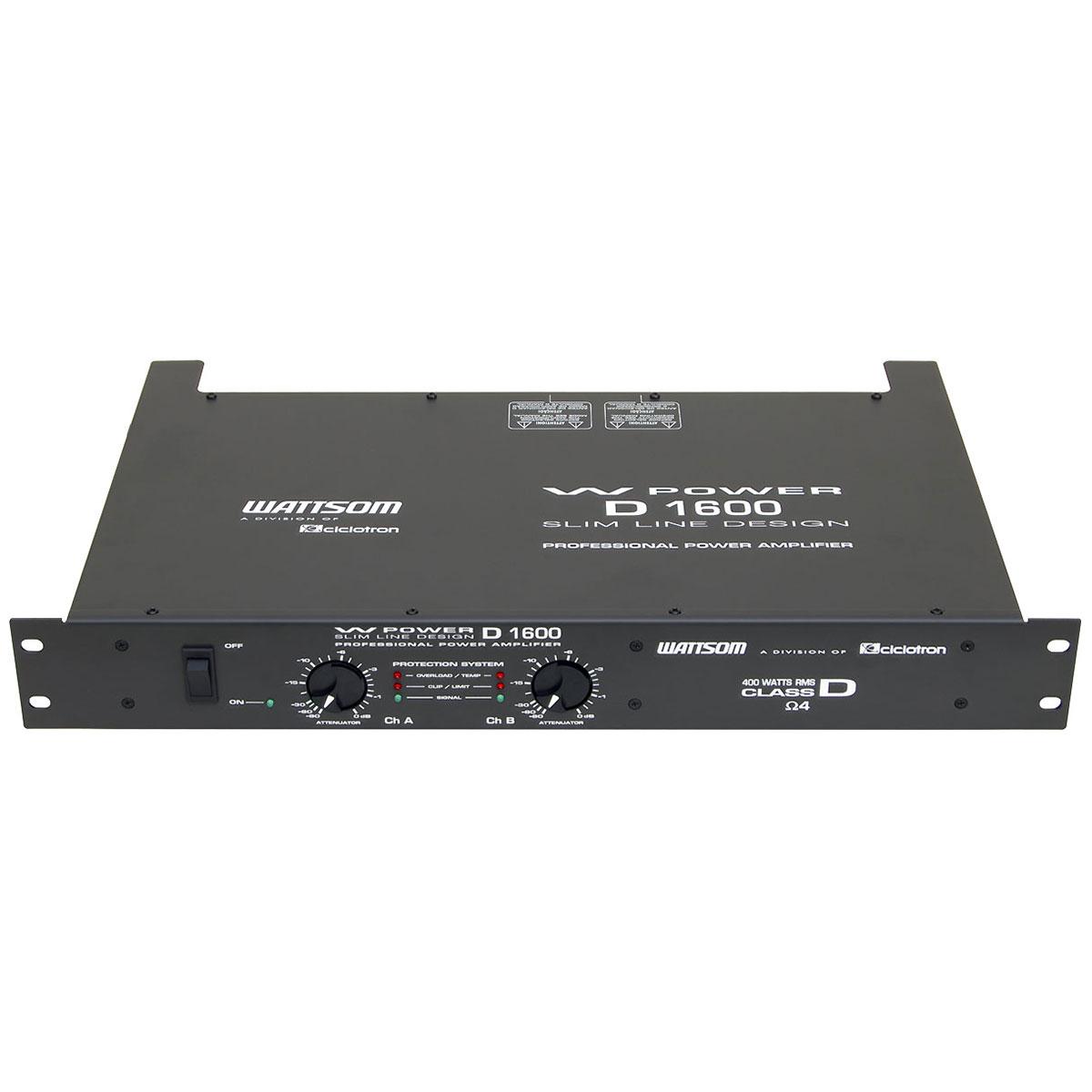 Amplificador Estéreo 2 Canais 400W ( Total ) W Power D 1600 - Ciclotron