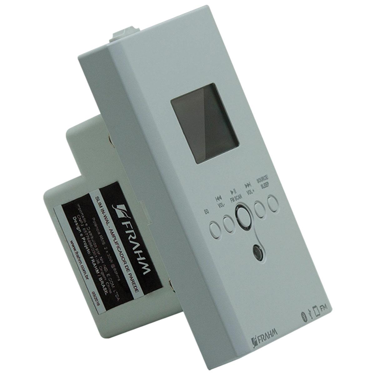 Amplificador Som Ambiente 30W c/ Bluetooth e USB 110V SLIM IN WALL - Frahm