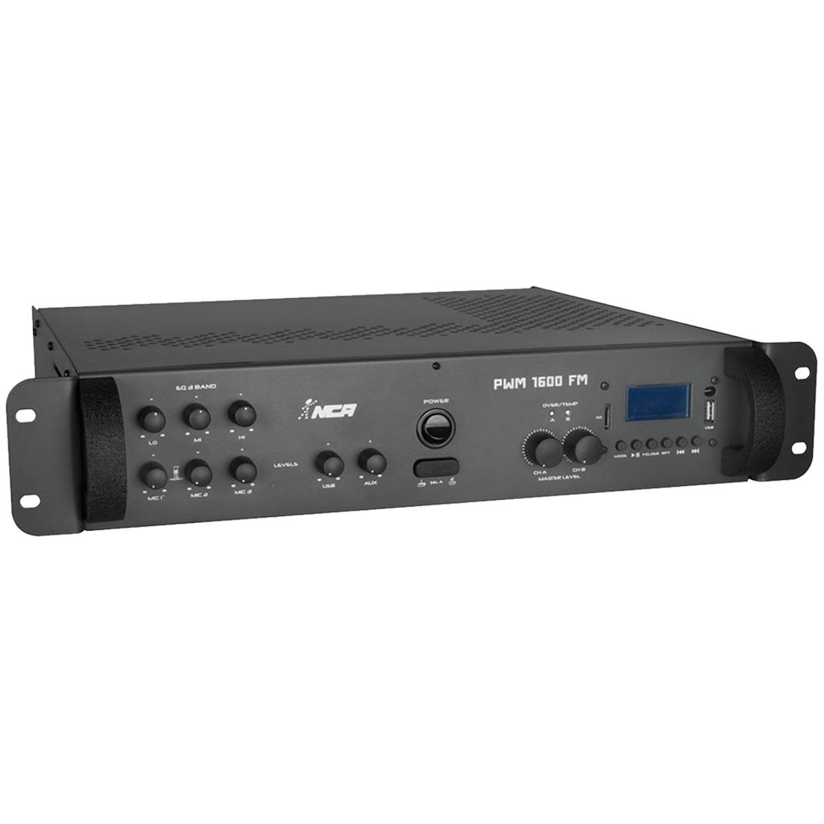 Amplificador Som Ambiente 400W RMS ( Total ) c/ USB e FM PWM 1600 FM - NCA